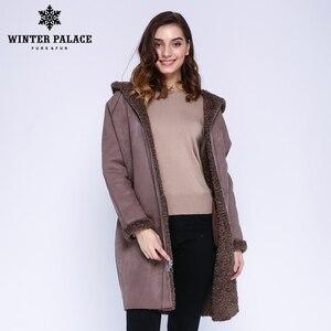 Image 4 - Hiver PALACE 2019 femmes nouveau manteau de laine longue à capuche manteau de fourrure longue à capuche Granule manteau de fourrure hiver chaud et coupe vent manteau de laine