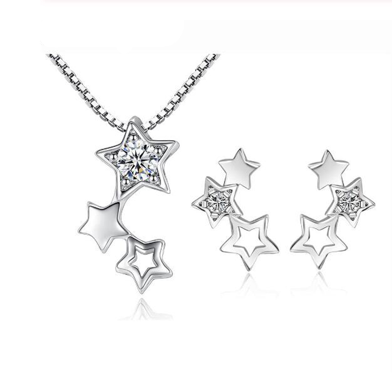 925 Sterling Silver Fine Jewelry Sets Simple Zirconia Star Necklace+Earrings Two piece set For Women Girl Gift