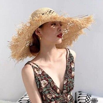 Sombrero de playa para mujer a la moda, sombrero de verano de rafia hecho a mano, sombrero de visera ancha de 11cm, venta al por mayor