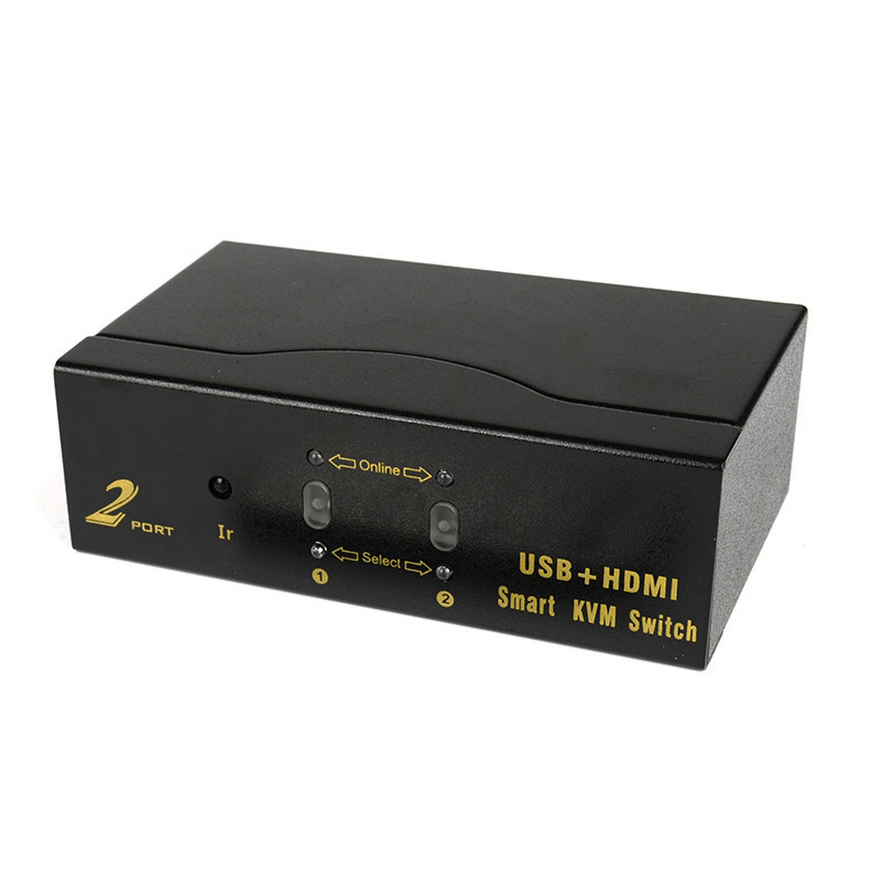 2-Port Hdmi Kvm Smart Switcher 2 In 1 Out Remote Control Switch Usb Hd Computer Splitter