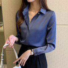 Shirt Blouse Tops Satin Long-Sleeve Office Lady Plus-Size Women Silk