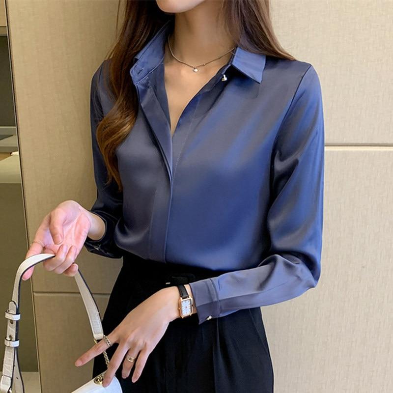 Seide Shirts Frauen Weißes Hemd Frauen Langarm Shirts Bluse Büro Dame Satin Seide Bluse Tops Plus Größe Frau Grundlegende shirt Top
