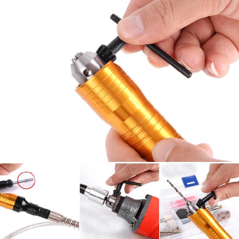 Инструмент для шлифовального станка с поворотным углом 6 мм гибкий вал Подходит + наконечник 0,3-6,5 мм для электрической дрели аксессуары для вращающегося инструмента Dremel