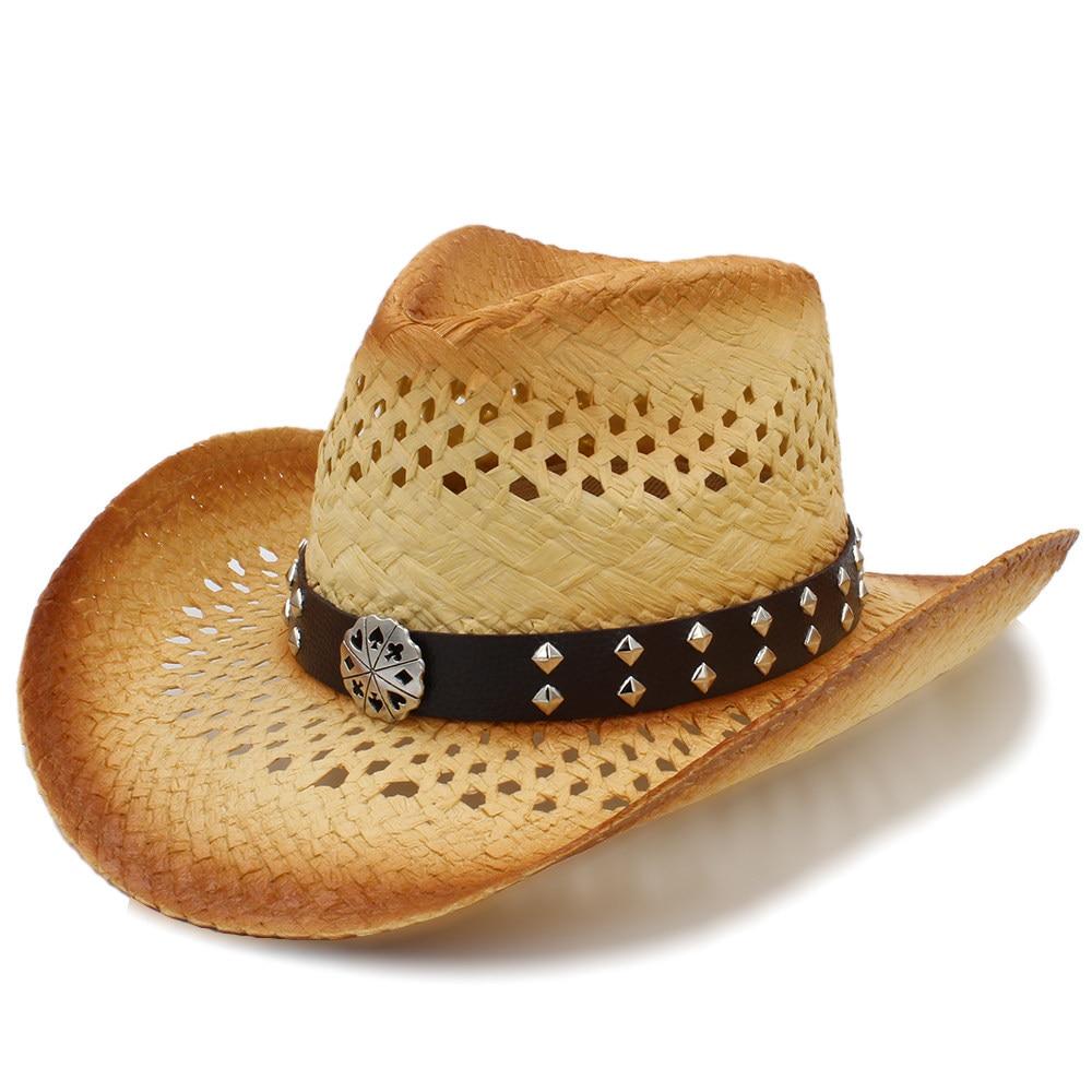 Western Cowboy Hat Handmade Weave Straw Women Men Beach Sun Sombrero Cowgirl Hat Size 58CM A0131