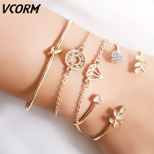 VCORM New Romantic Adjustable Crystal lovers Gold Charm Bracelet for Women Men 2019 Hot Fashion Jewelry Party Wedding Gift(China)