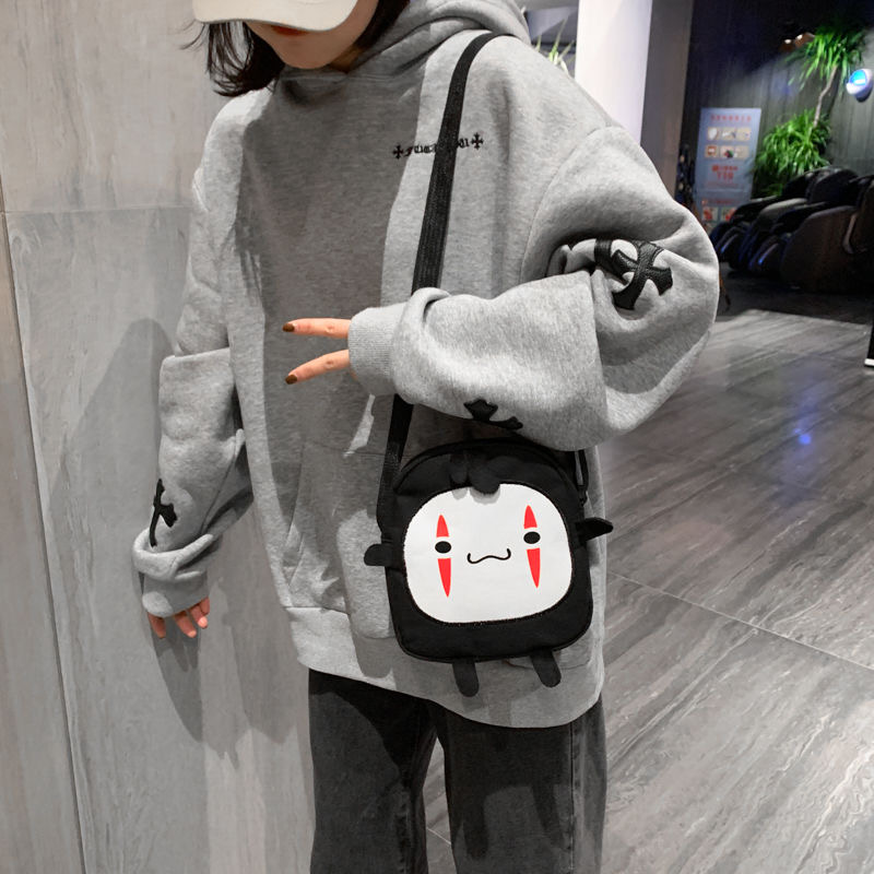 No Face Man Backpack Spirited Away Girl Kawaii Handbag Small Briquettes Cartoon Multi-function Harajuku Shoulder Bag
