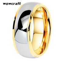 Tungsten Wedding Rings Womens Jewelry Gold Mens Tungsten Carbide Band Anniversary 6/8mm Couple Ring Steeped Edges Comfort Fit