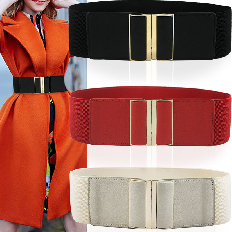 New Women's 7.5cm Width Elastic Stretch Cinch Waistband Lady Cummerband Girls Solid Color Spandex Waistband Waist Seal Wide Belt