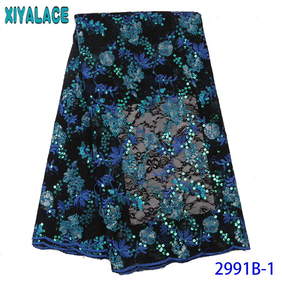 African French Lace Fabric 2019 High Quality Lace,Double Net Lace With Sequins,New Organza Fabric Lace For Women KS2991B-1