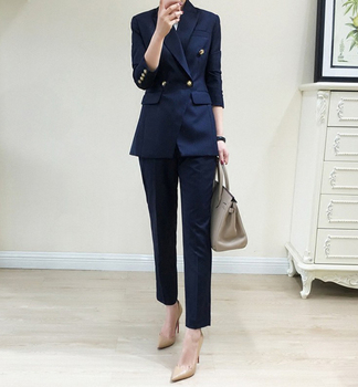 Fashion Business Pant Suits Uniform Formal Jacket and Pant Blazer Set Women Office Lady 2 Two Pieces Suits Uniform uniform business pant suits formal jacket and pant blazer set women office lady 2 two pieces suits uniform ka1089