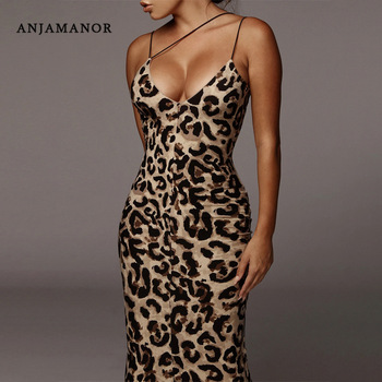 ANJAMANOR Leopard Snake Print Spaghetti Strap V Neck Long Bodycon Dress Fashion Sexy Night Club Dresses 2020 Summer D70-I54