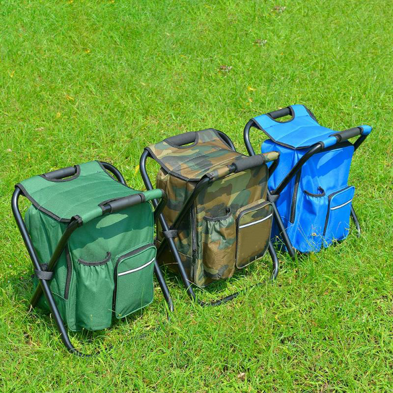 Outdoor Fishing Chair Bag Folding Camping Stool Portable Backpack Cooler Insulated Picnic Bag Hiking Seat Table Bag Bear 150KG