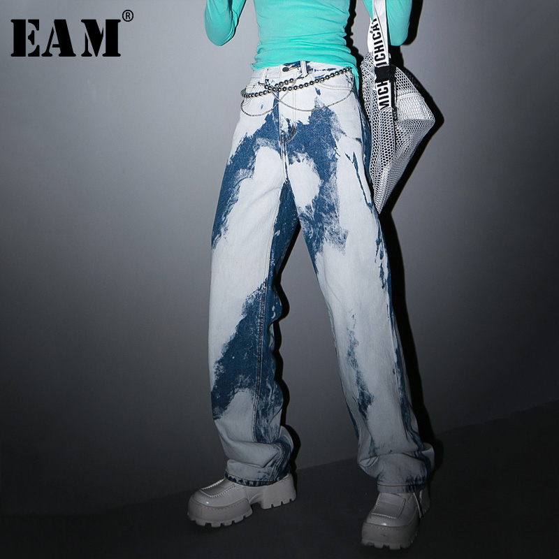 [EAM] Blue Dye Contrast Color Long Wide Leg Jeans New High Waist Loose Women Trousers Fashion Tide Spring Autumn 2020 1S204