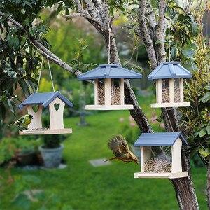 Кормушка для птиц, деревянная подвесная кормушка для птиц, контейнер для пищевых продуктов, непромокаемый балкон, вилла, дом, птичья пищевая...