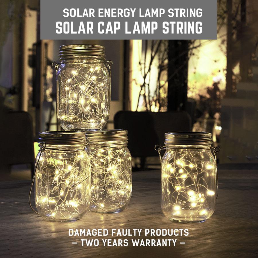 Solar LED String Light Mason Jar Lid Insert Fairy Light 20LEDs Hot Sale Christmas Lights Outdoor Wedding Decor