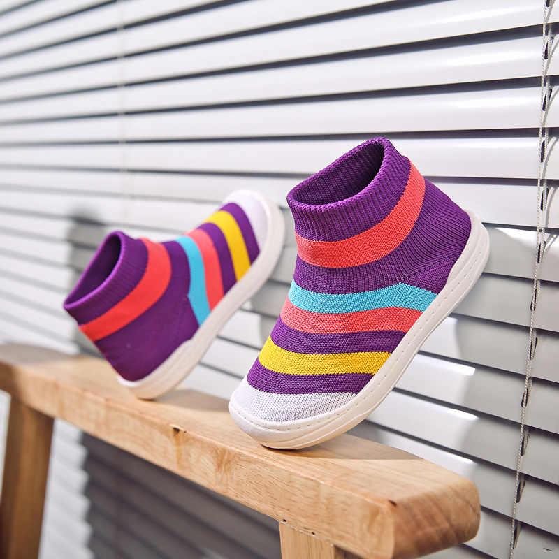 UNN носки для девочек детская обувь \ Сникеры цветная вязаная сетка детские носки обувь для малышей, из дышащего материала, без шнуровки; женская обувь для малышей