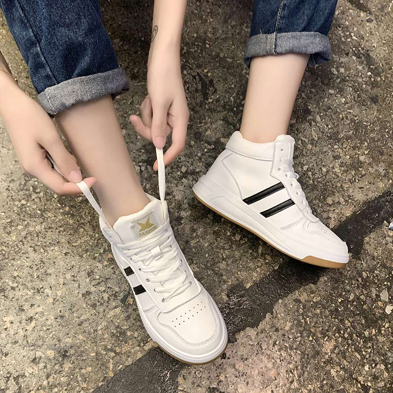 NKAVQI Women Wedges White Platform Sneakers Women Quality Leather High Top Sneakers Shoes Lace Up Solid Shoes zapatos de mujer