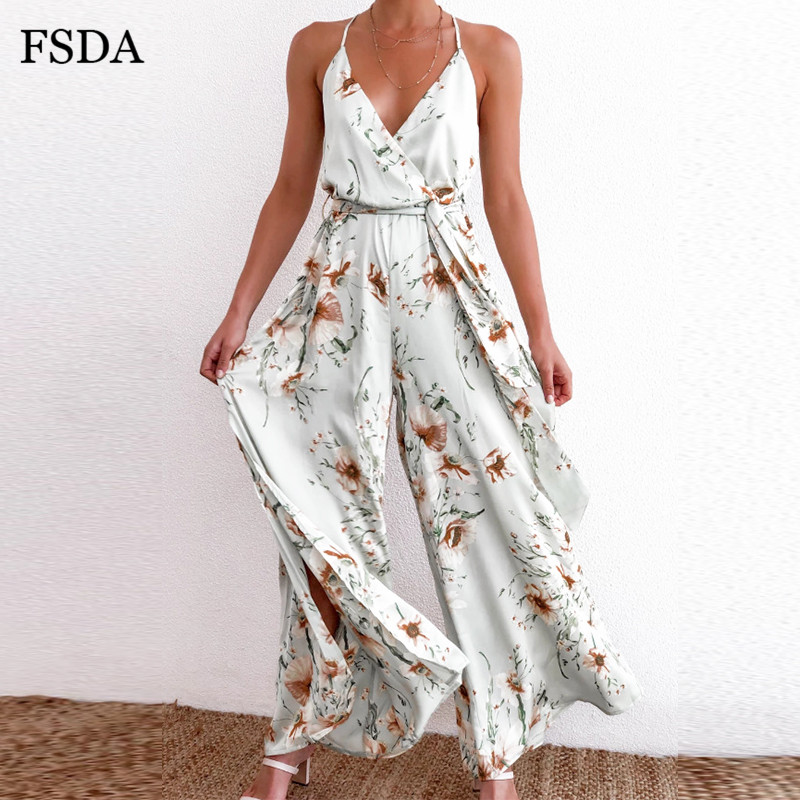 FSDA V Neck Floral Print Jumpsuit White Women Summer Outfits Split Spaghetti Strap Overalls Ladies Casual Beach Long Jumpsuits