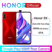 Google Play Honor 9X Kirin 810 7nm Octa core Smartphone 48MP Dual Camera 6.59 Full Screen Pop Up Front Camera Mobile Phone