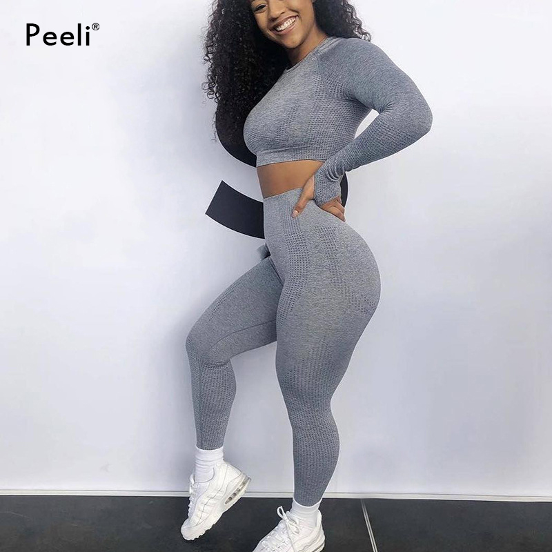 Women 2pcs Seamless Yoga Set Sport Suit Gymwear Workout Clothes Long Sleeve Gym Crop Top High Waist Leggings Fitness Sports Wear 3