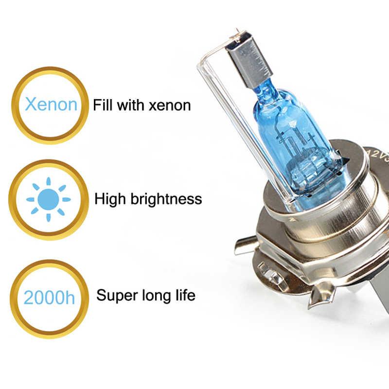 Из 2 предметов Новые супер яркий 55 Вт автомобильный H4 H7 H11 H1 9005 9006 HB3 HB4 галогенная лампа оригинальным разъемом питания лампочка для передних фар 5500 к белый свет