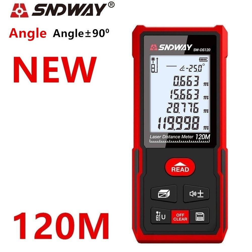 SNDWAY laser rangefinder distance meter 120m 100M 70M electronic roulette digital ruler trena laser tape measure range finder