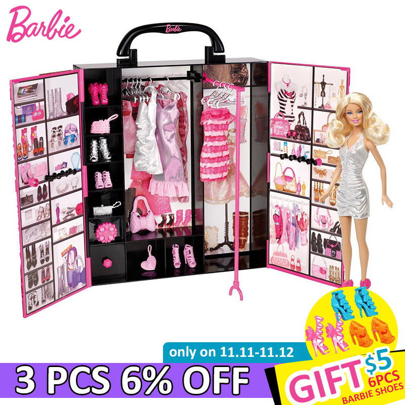 Original Barbie Doll Ultimate Fantasy Closet Baby Lady Toys Model Clothing Costume Suit Princess Girls Toys Gift For Children