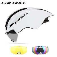 Cairbull Casco da Bicicletta Aero TT Corsa di strada MTB Casco della bici Con Magnetica occhiali Pneumatico Della Bicicletta Casco Casco Con Occhiali 3 lente