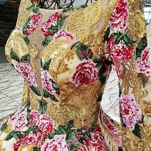 Image 5 - LS39810ヘビービーズイブニングドレス長袖花柄ガウンセクシーなスパンコールpronmイブニングドレス中国アリババ卸売