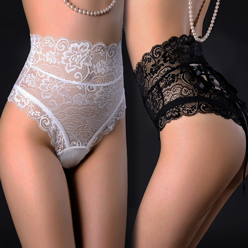 <font><b>Sexy</b></font> Panties Shorts <font><b>Women</b></font> High Waist Lace Imitation Lingerie Underwear Thongs G Strings Ladies Hollow Out Underpants Female New image