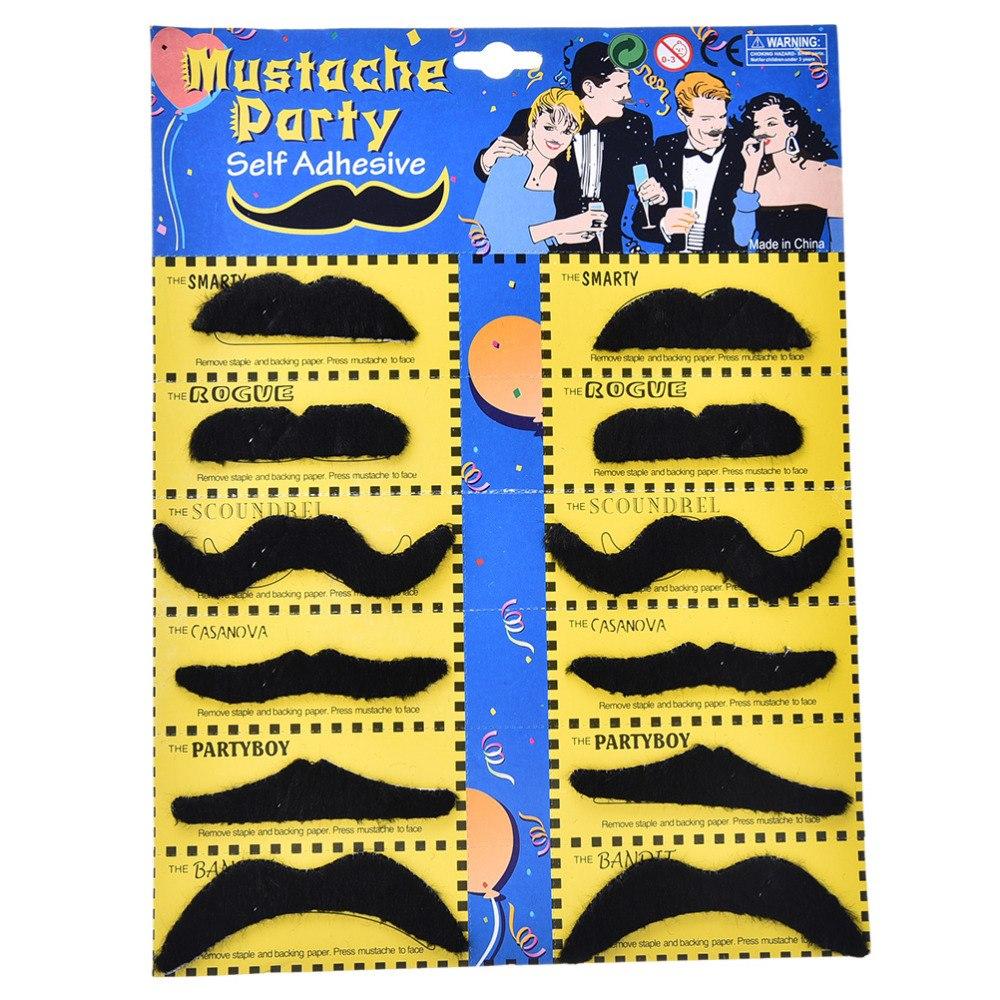 Costume Party Halloween Fake Mustache Moustache Funny Fake Beard Whisker Black Festival Party Novelty Supplies 12PCS/Set