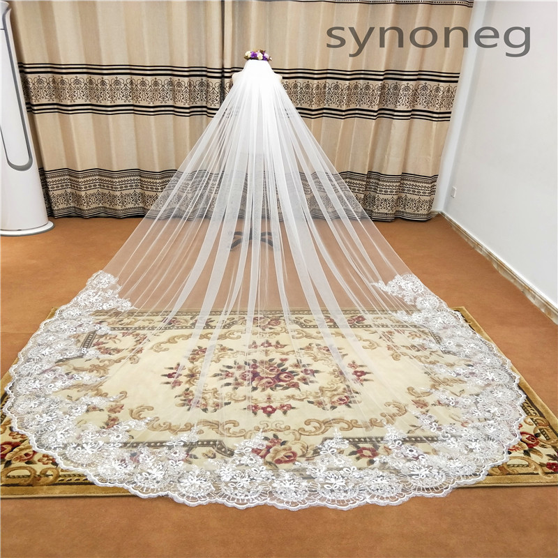Real Photo Romantic 3 M Wedding Veil Cathedral One Layer Lace Appliqued Long Bridal Veils With Comb Woman Marry Gifts