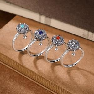 Image 5 - BALMORA 100% Real 925 Sterling Silver Buddhist Rings For Women Lady Rotating Ring Tibetan Prayer Mantra Ring Good Luck Ring Gift
