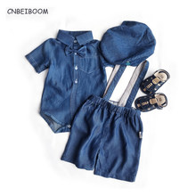 Toddler Boys Clothing Set Newborn Denim Cowboy Suit Kids Short Sleeve 4pcs sets Casual 2020 Summer Baby Boy clothes(China)