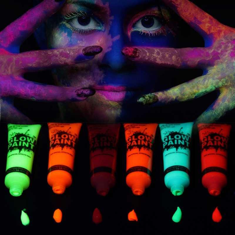 آمنة غير سامة الجسم الفن الطلاء كريم الأشعة فوق البنفسجية النيون الفلورسنت حزب مهرجان هالوين تأثيري ماكياج الاطفال رسم على الوجه الأشعة فوق البنفسجية توهج اللوحة