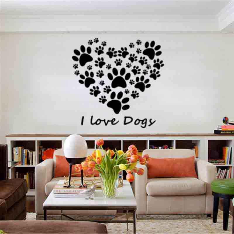 Милый стикер для детской комнаты I love Dogy DIY спальня домашняя Декорация-Наклейка Детские настенные наклейки для детей наклейка для спальни