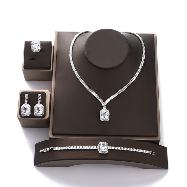 طقم مجوهرات HADIYANA خمر مجوهرات حفلات الزفاف مربع عقد من حجر الياقوت القرط سوار وخاتم مجموعة BN7746 Conjunto دي joyas