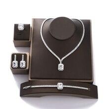 Jewelry Set HADIYANA Vintage Wedding Party Jewelry Square Zircon Necklace Earring Bracelet and Ring Set BN7746 Conjunto de joyas