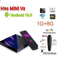 ТВ-приставка H96 MINI V8 RK3228A на Android 10,0, четырехъядерный процессор, 2 ГБ, 16 ГБ, 2,4 ГГц, Wi-Fi, 100 Мбит/с, lan-порт, 1 ГБ, 8 ГБ, дополнительная Голосовая мышь g30