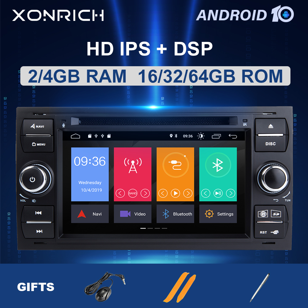 4GB64G IPS DSP 2 din Android 10Car Radio <font><b>Multimedia</b></font> For <font><b>Ford</b></font> <font><b>Focus</b></font> 2 3 <font><b>mk2</b></font> Mondeo 4 Kuga Fiesta Transit Connect S-MAXC-MAX8 Core image