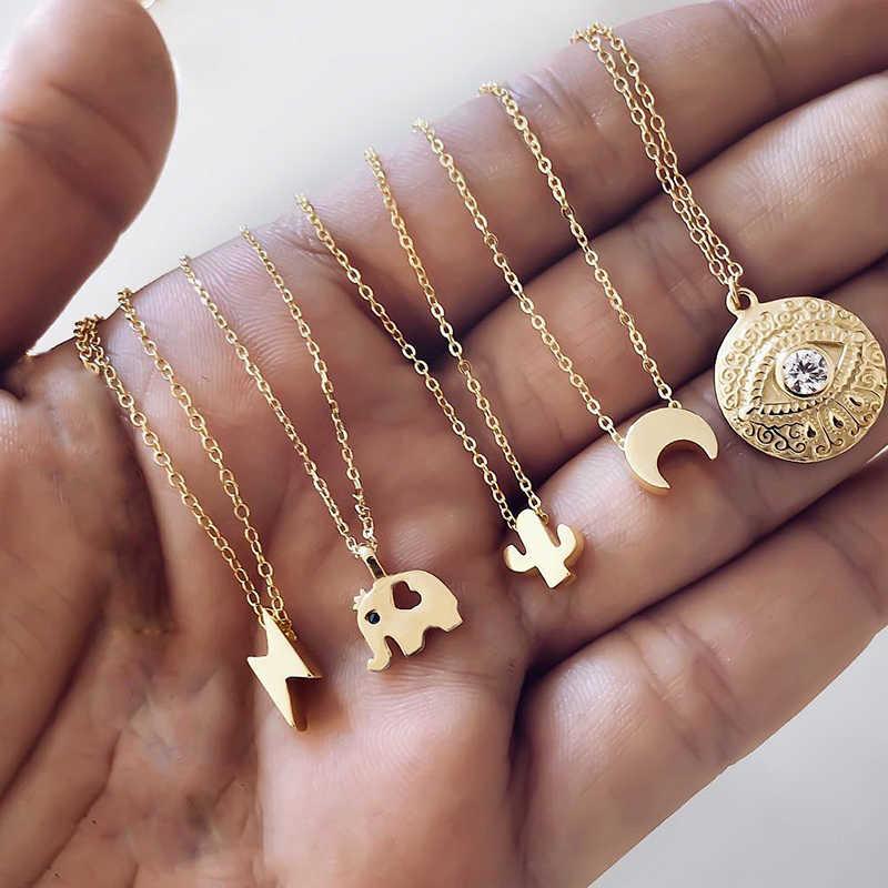 Artystyczne złote gwiazdki naszyjniki dla kobiet serce z kwiatkiem Choker naszyjnik 2019 etniczna wielowarstwowa biżuteria damska