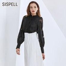 Женская кружевная блузка sispell в стиле пэчворк рубашка с воротником