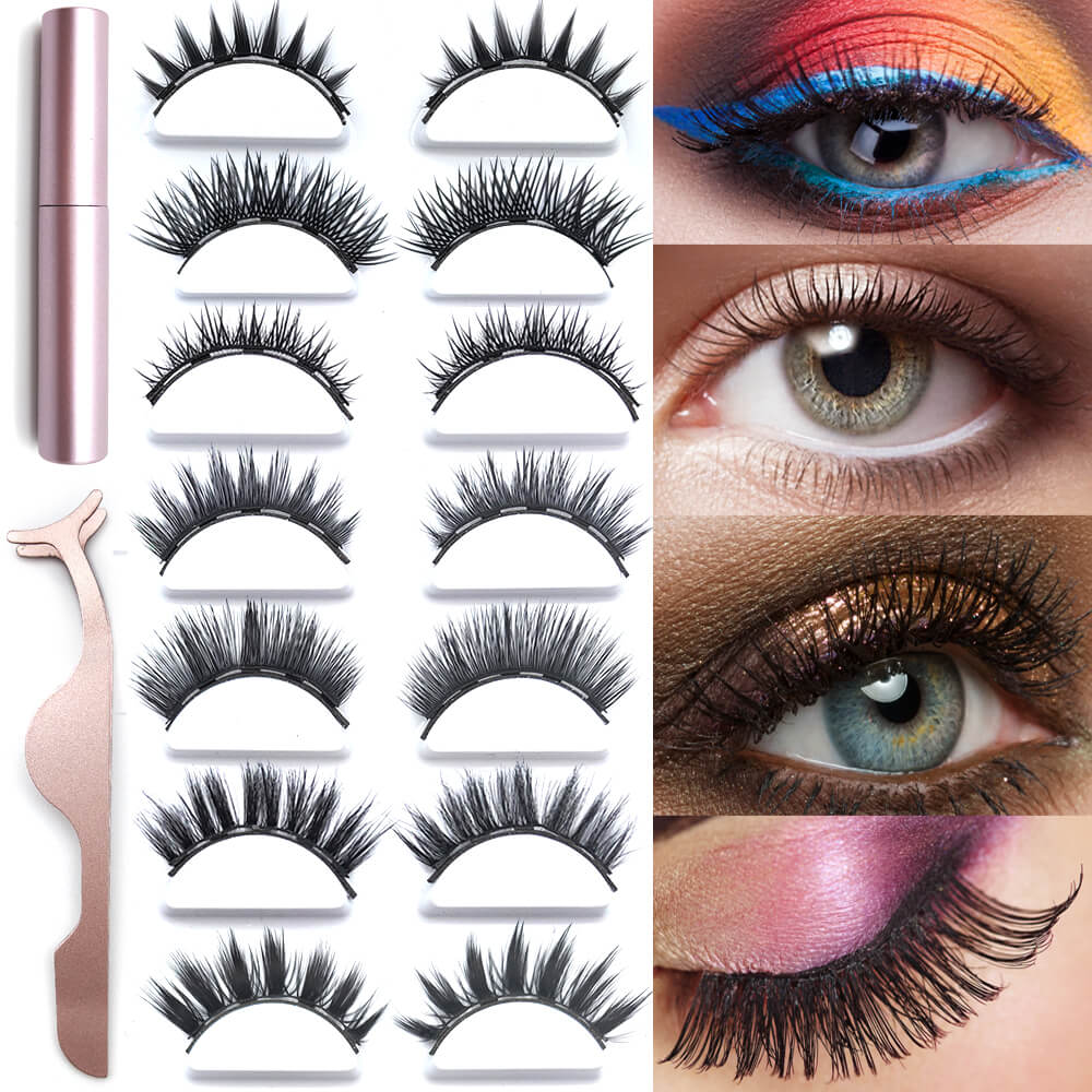Mixed Magnetic Eyelashes And Natural Eyeliner 3 Set Black Liquid Eye Tweezer With Magnets Applicator False Mink Liner Extension