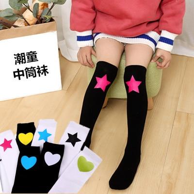 Image 2 - Baby Grils Star Love Knee High Socks Football Stripes Cotton  School White Black Socks Skate Children Long Tube Leg Warm  1.3kg#43Tights