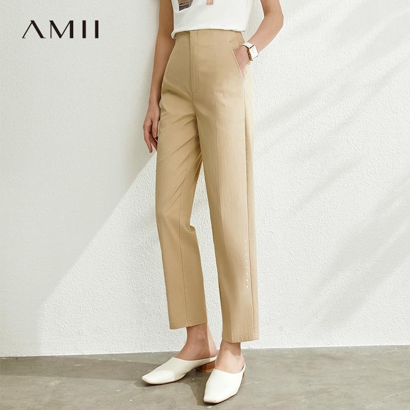AMII Minimalist Summer Women Straight Pants Fashion High Waist Solid Slim Fit Casual Female Long Pants 12040200