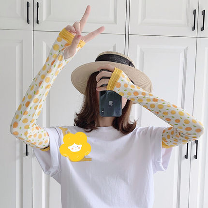 2 Pieces = 1 Pairs Sun-resistant Women's Hand Arm Warmer Sleeve Viscose Gloves Driving Ice Cute Online Celebrity Pretty Girl