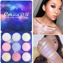 9 cores paleta de sombra shimmer maquiagem brilho luminoso sombra de olho highlighter maquiagem rosto contorno reparação cosméticos