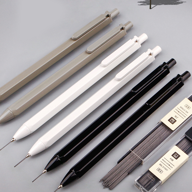 1pcs Simple Hexagon Mechanical Pencil 0.7 0.5mm HB Automatic Pencil Stationery Auto Pencils For School Office Supplies