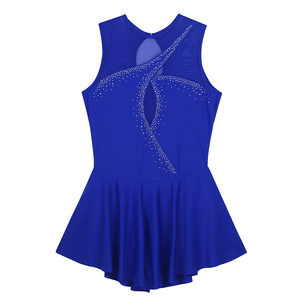 Image 4 - TiaoBug Adult Performance Dance Costume Sleeveless Mesh Splice Rhinestones Figure Skating Dress Women Ballet Gymnastics Leotard