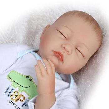 55cm Reborn Baby Doll Girl boy sleeping newborn baibes Silicone Vinyl bebe reborn with Crocodile clothing